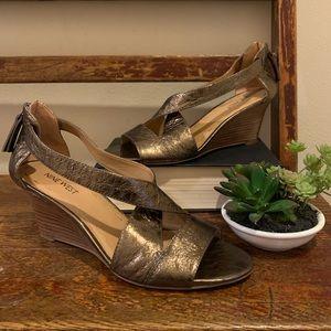 Nine West metallic bronze gold wedge sandals